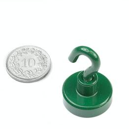 FTNG-20 Hook magnet green Ø 20.3 mm, powder-coated, thread M4