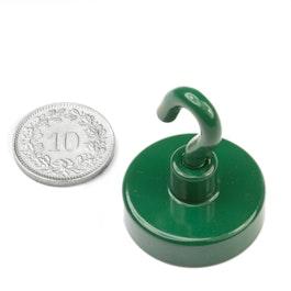 FTNG-25 Gancho magnético verde Ø 25.3 mm, recubrimiento de polvo, rosca M4