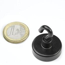 FTNB-25 Hakenmagnet schwarz Ø 25,3 mm, hält ca. 16 kg, pulverbeschichtet, Gewinde M4