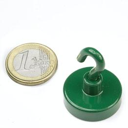 FTNG-25 Magnete con gancio verde Ø 25,3 mm, tiene ca. 16 kg, verniciato a polvere, filettatura M4