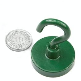 FTNG-32 Haakmagneet groen Ø 32.3 mm, houdt ca. 28 kg, met poedercoating, schroefdraad M5