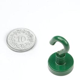 FTNG-16 Hakenmagnet grün Ø 16.3 mm, pulverbeschichtet, Gewinde M4