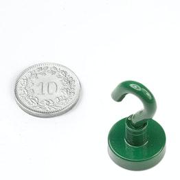 FTNG-16 Crochet magnétique vert Ø 16.3 mm, tient env. 6 kg, revêtement poudre, pas de vis M4
