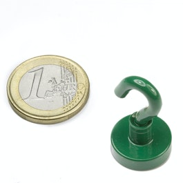 FTNG-16 Hook magnet green Ø 16,3 mm, powder-coated, thread M4