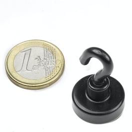 FTNB-20 Hakenmagnet schwarz Ø 20,3 mm, pulverbeschichtet, Gewinde M4