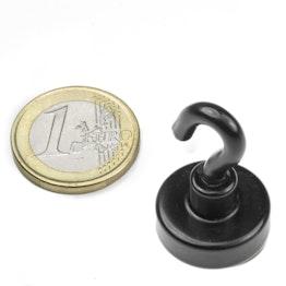 FTNB-20 Crochet magnétique noir Ø 20,3 mm, revêtement poudre, pas de vis M4