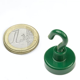 FTNG-20 Hook magnet green Ø 20,3 mm, powder-coated, thread M4