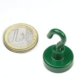 FTNG-20 Magnete con gancio verde Ø 20,3 mm, tiene ca. 13 kg, verniciato a polvere, filettatura M4