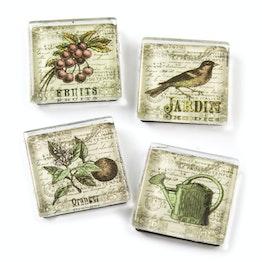 Imanes de cristal «Jardín» con motivos de jardín, 4 uds.