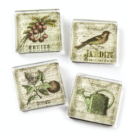 Glass magnets 'Jardin' with garden motifs, set of 4
