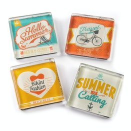 Glass magnets 'Summer' with summer motifs, set of 4