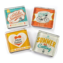 Summer fridge magnets with summer motives, set of 4