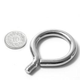 STE-19 threaded eyelet bolt 19 mm inner diameter, steel, nickel-coated, thread M6