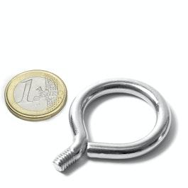 STE-19 occhiello da avvitare diametro interno 19 mm, acciaio, nichelato, filettatura M6
