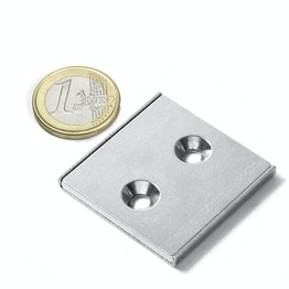 CSR-40-40-04-N Magnete piatto a barra 40 x 40 x 4 mm, con foro svasato, profilo a U in acciaio