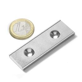 CSR-60-20-04-N Imán plano 60 x 20 x 4 mm, con taladro avellanado, en perfil de acero en forma de U