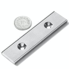 CSR-80-20-04-N Flachleisten-Magnet 80 x 20 x 4 mm, mit Senkbohrung, in U-förmigem Stahlprofil