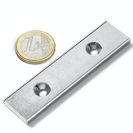 CSR-80-20-04-N Magnete piatto a barra 80 x 20 x 4 mm, con foro svasato, profilo a U in acciaio