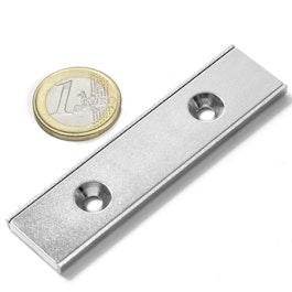 CSR-80-20-04-N Platte magneet 80 x 20 x 4 mm, met verzonken gat, in stalen u-profiel