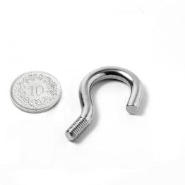 STH-14 screw hook 14 mm inner diameter, steel, nickel-coated, thread M5