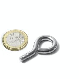 STE-11 Schrauböse 11 mm Innendurchmesser, Stahl, vernickelt, Gewinde M5