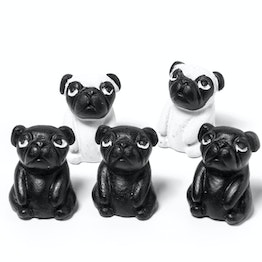 Pugs fridge magnets in the shape of dogs, set of 5
