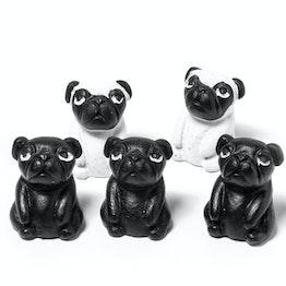 Mops-Magnete hält ca. 500 g, Kühlschrankmagnete in Hunde-Form, 5er-Set