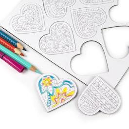 Cœurs mandala aimants pour frigo à colorier, en forme de cœur, lot de 9