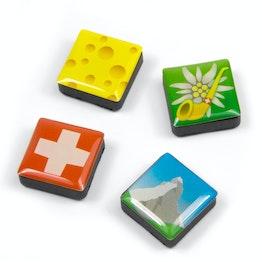 Icons Zwitserland decoratiemagneten vierkant, set van 4, in diverse stijlen