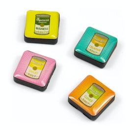 Icônes retro soup aimants décoratifs carrés, lot de 4, dans différents designs