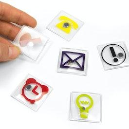 Icônes de bureau carrées, différents motifs, lot de 6