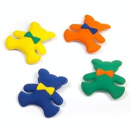 Teddy magnets made of plastic, velvety, set of 4