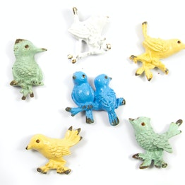 Ornament Birds imanes de nevera con aspecto desgastado, 6 uds.