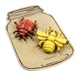 Calamite da frigo 'Beetle in Glass' con effetto usato, set da 2