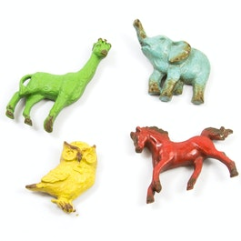 Zoo Magnets aimants pour réfrigérateur au look usé, lot de 4