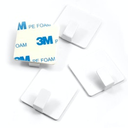 Metal hooks self-adhesive square, white, set of 4, not magnets!