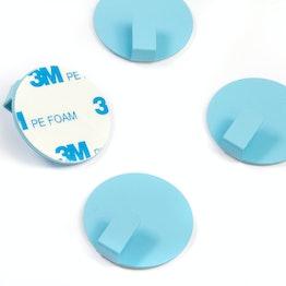 Ganci metallici autoadesivi rotondi, blu, set da 4, non sono magneti!