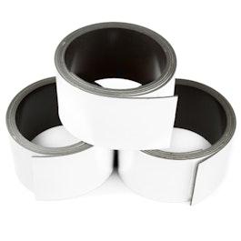 Cinta magnética de colores 30 mm para rotular y cortar, rollos de 1 m, blanco