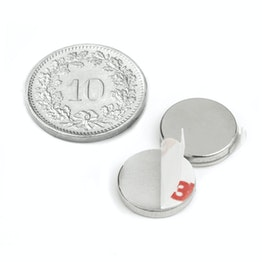 S-12-02-FOAM Disc magnet self-adhesive Ø 12 mm, height 2 mm, neodymium, N35, nickel-plated
