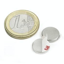 S-12-02-FOAM Scheibenmagnet selbstklebend Ø 12 mm, Höhe 2 mm, Neodym, N35, vernickelt