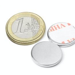S-18-02-FOAM Disc magnet self-adhesive Ø 18 mm, height 2 mm, neodymium, N35, nickel-plated