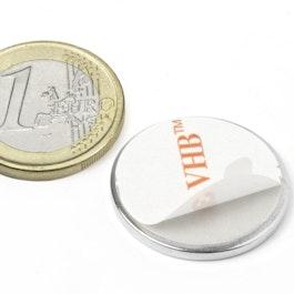 S-25-02-FOAM Disc magnet self-adhesive Ø 25 mm, height 2 mm, neodymium, N35, nickel-plated