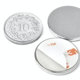 S-22-02-FOAM Disc magnet self-adhesive Ø 22 mm, height 2 mm, neodymium, N35, nickel-plated