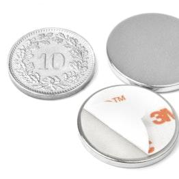 S-22-02-FOAM Disque magnétique autocollant Ø 22 mm, hauteur 2 mm, tient env. 2.5 kg, néodyme, N35, nickelé