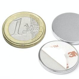 S-22-02-FOAM Disque magnétique autocollant Ø 22 mm, hauteur 2 mm, néodyme, N35, nickelé