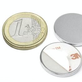 S-22-02-FOAM Disque magnétique autocollant Ø 22 mm, hauteur 2 mm, tient env. 2,5 kg, néodyme, N35, nickelé