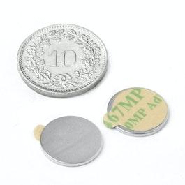 S-13-01-STIC Scheibenmagnet selbstklebend Ø 13 mm, Höhe 1 mm, Neodym, N35, vernickelt