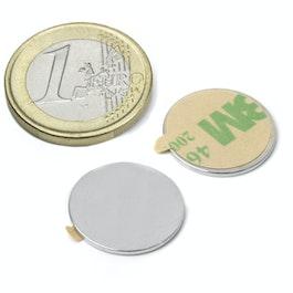 S-18-01-STIC Disco magnetico autoadesivo Ø 18 mm, altezza 1 mm, neodimio, N35, nichelato