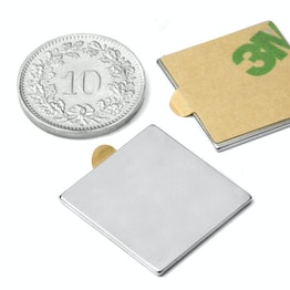 Q-20-20-01-STIC Block magnet self-adhesive 20 x 20 x 1 mm, neodymium, N35, nickel-plated