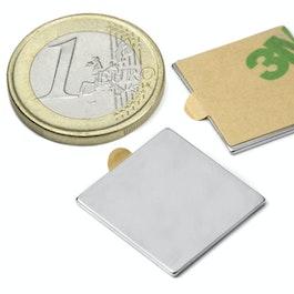Q-20-20-01-STIC Bloque magnético adhesivo 20 x 20 x 1 mm, neodimio, N35, niquelado